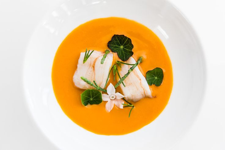 King fish with a pumpkin puree