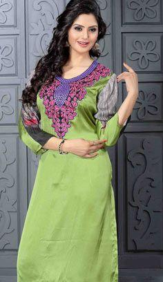 Fashionable Indian Green Satin Kurti