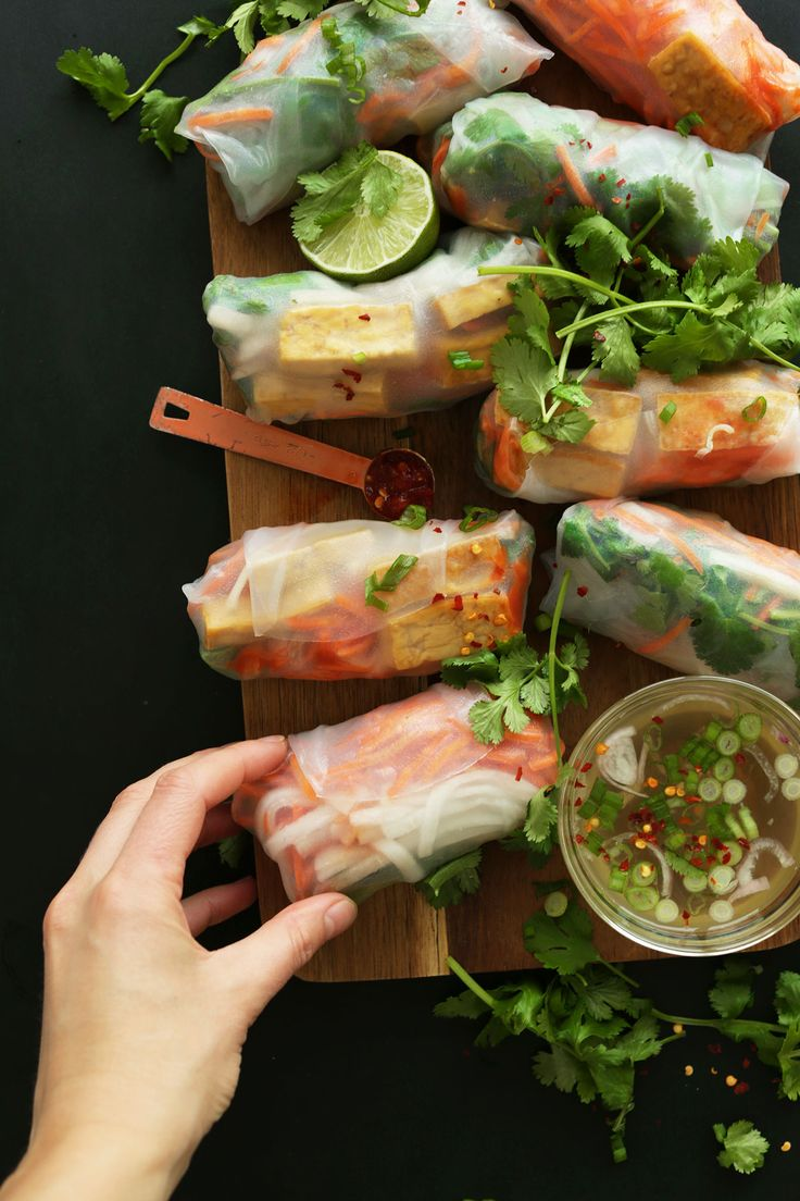 BAHN MI Spring Rolls in just 10 ingredients! Pinner wrote: So HEALTHY, fresh and satisfying #vegan