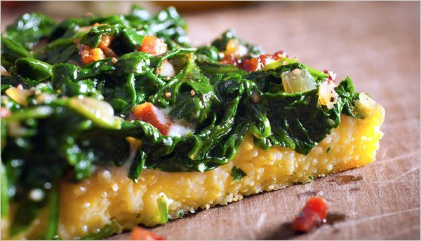 Polenta 'Pizza' with Pancetta and SpinachPolentna Pica, Notquitemeatless Recipe, Recipe Ideas, 16 Notquitemeatless, Cooking Inspiration, Polenta Pizza, Spinach, Favorite Recipe, Foodies Yummo