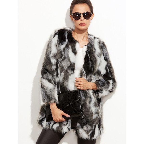 Faux Fur Open Front Fuzzy Coat via Polyvore featuring outerwear, coats, fake fur coats, faux fur coat, fuzzy coat, imitation fur coats and open front coat