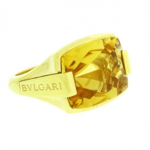preowned bulgari citrine in 18k yellow gold ring liked on