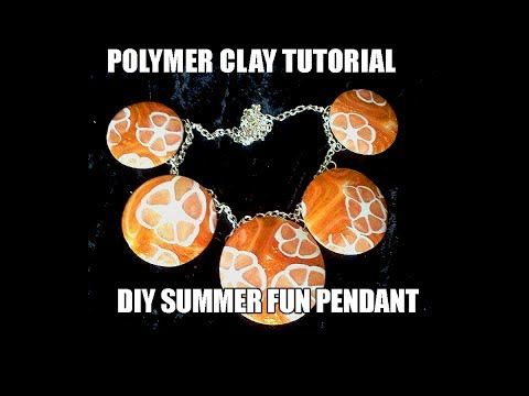 Polymer clay tutorial - DIY simple and fun summer pendant - YouTube