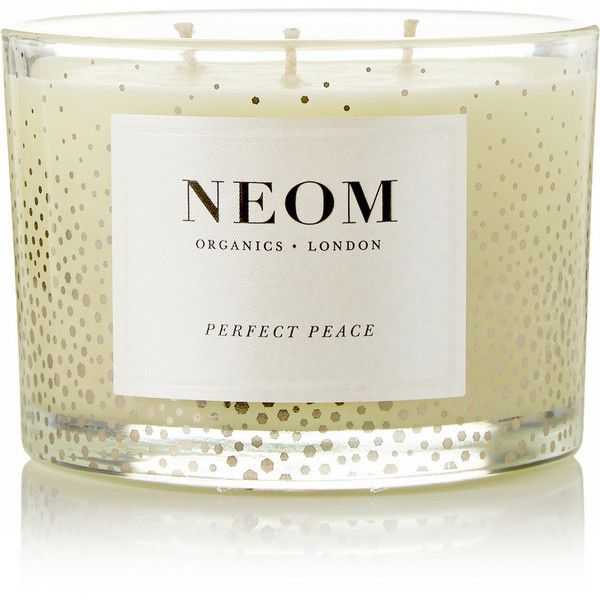 Neom Organics Perfect Peace Pine, Myrrh and Lime Peel scented candle,... (360 DKK) ❤ liked on Polyvore featuring home, home decor, candles & candleholders, colorless, scented candles, myrrh candle, fragrance candles, lime green candles and neom organics