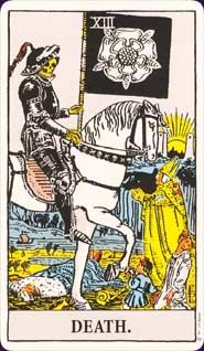Rider-Waite Tarot; Death, the end of one thing signifying the beginning of something else.