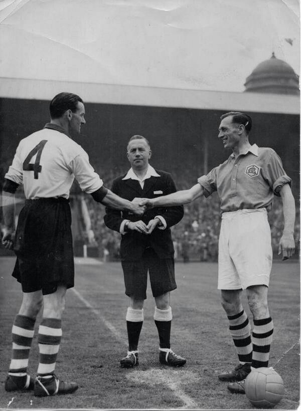 Arsenal 2 Liverpool 0 in April 1950 at Wembley. The captains, Phil Taylor and Joe Mercer, meet before the FA Cup Final.