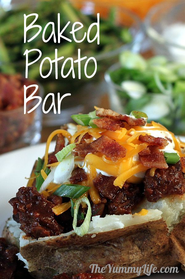 We Are Hosting The Speaker Today...Looking foward to doing this..BAKED POTATO BAR for a fun family meal or party buffet. TheYummyLife.com