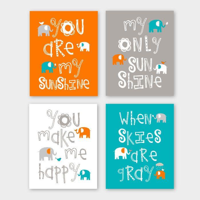 Nursery Quad Turquoise and Orange Nursery You are my sunshine Elephant Nursery Set of 4 8X10 prints Orange Turquoise Grey Pin now to view later