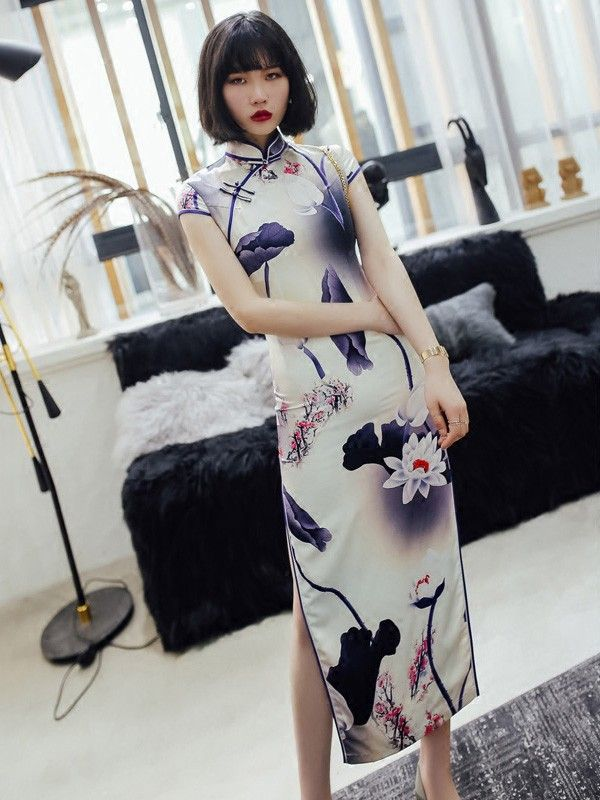 Purple Ankle-Length Qipao / Cheongsam Dress in Lotus Print