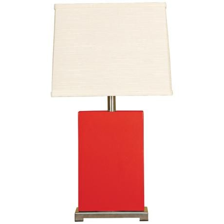 Splash Collection Red Ceramic Rectangular Table Lamp