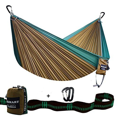 SEGMART Double XL Hammocks with Hammock Straps & Carabiners - Camel/Blackish Green. For product info go to:  https://all4hiking.com/products/segmart-double-xl-hammocks-with-hammock-straps-carabiners-camelblackish-green/