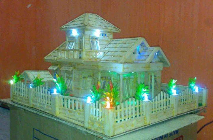 Kerajinan Dari Stik Esrim Miniatur Rumah