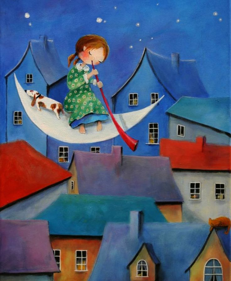 "Saatchi Art Artist Iwona Lifsches; Painting, ""Ulla Plays Lullaby for a Homeless Cat, SOLD"" #art"