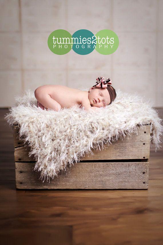 Couverture de bébé photo accessoires : tapis de tricot, fourrure crème texture shaggy « Saines » PuffPelt ™ !    Jai la main tricot ce faux peau de