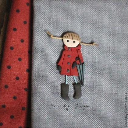 Натали. Девочка с зонтом. Брошь - темно-красный,красный,брошь девочка