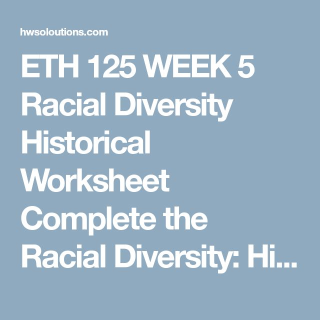 racial diversity historical worksheet essay Cultural identity worksheet explain to the participants that each of us belongs to many cultural groups and that together these cultural affiliations shape us into.