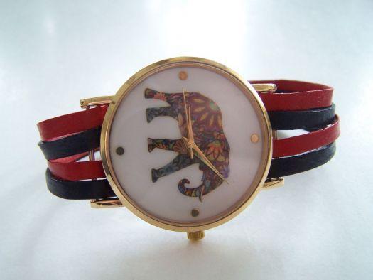 Zegarek na paskach ze skóry /watch bracelet with leather straps
