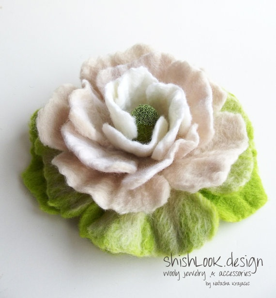 Felted flower brooch - lots of colors on this site