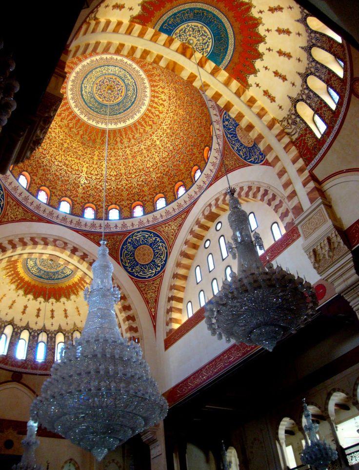 Inner ceiling cupolas of Hariri Mosque in downtown Beirut