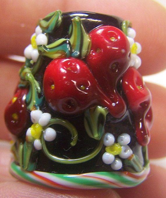 Handmade Lampwork Glass Thimble -Fresh Strawberries