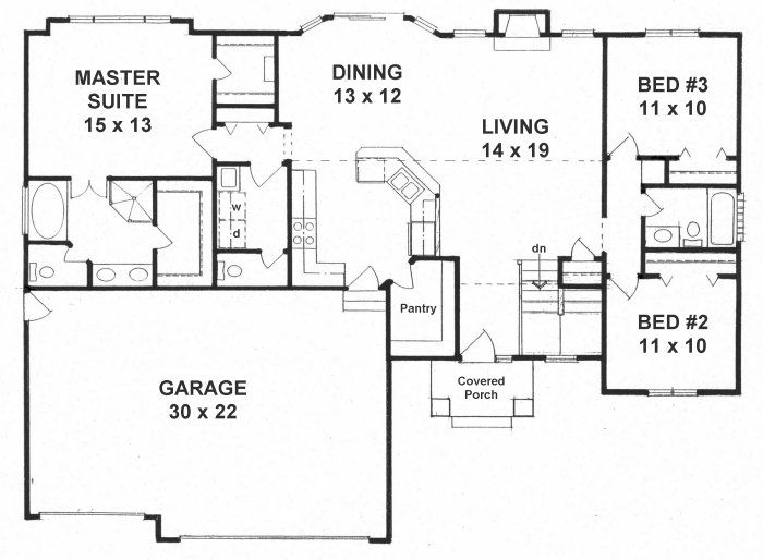 first floor plan of traditional house plan 62643 love how you go right into the - Traditional House Plans