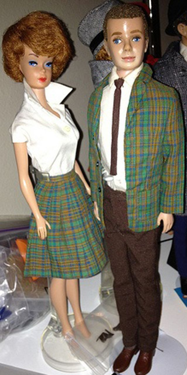 """Ken in College Student, Barbie in 'Pert Skirts' """"Collage Student"""" Variation"""