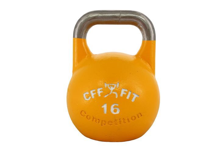 CFF 16 kg Pro Competition Russian Kettlebell (Girya) Great for Cross Training and MMA Training!. CFF 16 kg Pro Competition Russian Kettlebell Girya. 100-Percent All steel construction (Not cast iron). Regulation 33mm handle; The handles are specifically designed to prevent lateral slipping and minimize fatigue with high repetition sets. Flat bottom (Perfect for renegade rows w/no wobbling). Other sizes available: 8, 12, 16, 20, 24, & 32 kg kettlebells.