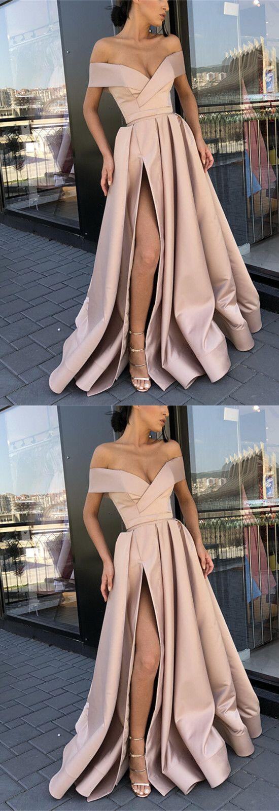Long Satin Split Evening Dresses Off The Shoulder Prom Gowns – alinanova