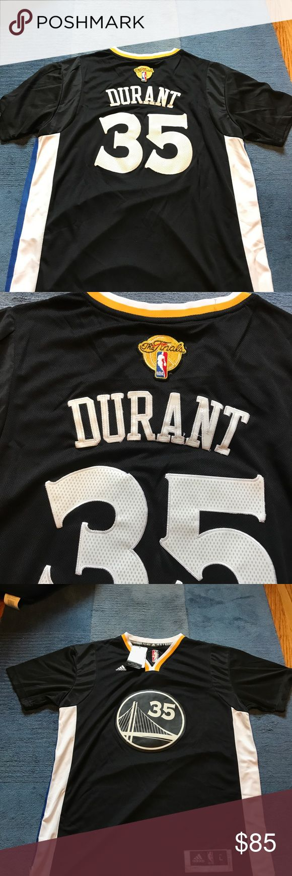 NWT Kevin Durant NBA FINALS Warriors Jersey Sleeve This jersey will NOT last long on here. Brand new with tags Swingman Kevin Durant NBA FINALS sleeved Golden State Warriors jersey!  Must have for any Durant fan or Warriors fan!  Size Large but can fit a Medium as well!  Always willing to negotiate and always next day shipping. adidas Other