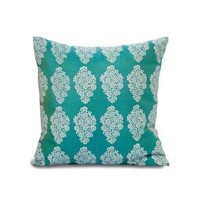 White Floral Blockprint Pillow Blue