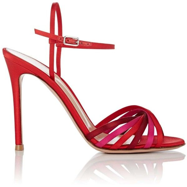 Gianvito Rossi Women's Dalida Satin Sandals (3,105 AED) ❤ liked on Polyvore featuring shoes, sandals, red satin shoes, high heels sandals, red strappy sandals, open toe sandals and high heel shoes