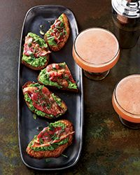 Chef Gregory Vernick makes these terrific toasts by pureeing frozen peas with mint and butter, then spreading the pea butter on thick slices of sourdough bread with bacon on top. The bread soaks up the bacon fat as it toasts.  Slideshow: Ideas for Bruschetta and Crostini