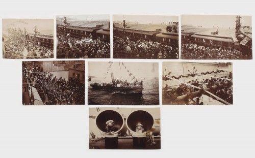 """Botezul vasului """"Regele Carol I"""", în prezența familiei regale, lot de 8 fotografii, Constanța, cca. 1898 print alb-negru pe hârtie fotografică, 7,5 x 11 cm; 8 x 11 cm; 7,5 x 10 cm; 7 x 8,5 cm; 7,5 x 8 cm Preţ de pornire: € 120"""