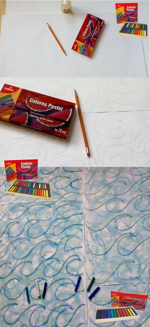 Cartulina y tus colores pastel de Stafford para hacer tu cuadro de olas. #DYI #Waves #pastel #color #Art