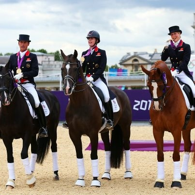 L-R) Carl Hester on Uthopia, Charlotte Dujardin on Valegro and Laura Tomlinson on Mistral Hojris