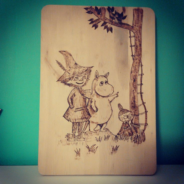 """Moomin wood burning """"When your husband realises he has a new talent :)"""""""