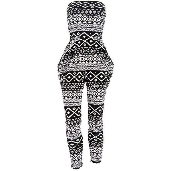Aztec Print Harem Skinny Leg Jumpsuit ($27) ❤ liked on Polyvore featuring jumpsuits, dresses, rompers, jumpsuit, jump suit, playsuit romper, aztec jumpsuit, romper jumpsuit and skinny leg jumpsuit