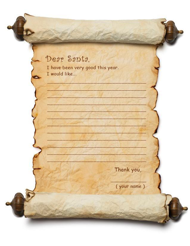 Letter To Santa Templates: Dear Santa List 1