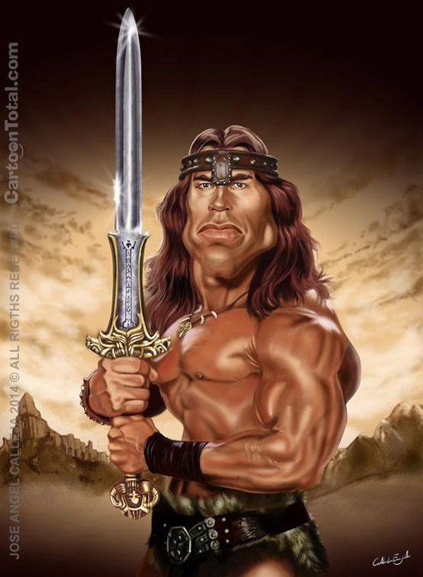 Caricatura de Arnold Schwarzenegger como Conan.