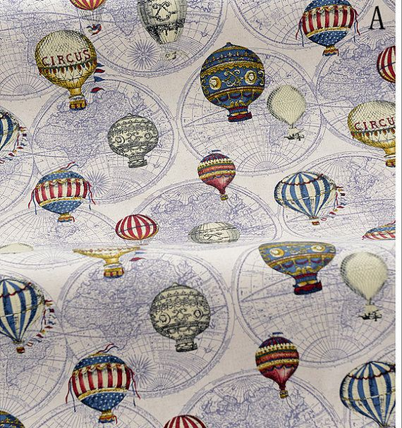 Vintage Fire Balloon Circus Balloon World Map on Beige Green Purple Linen cotton fabric,Curtain fabric/ bag/ quilting/ table runne -1/2 yard on Etsy, £4.51