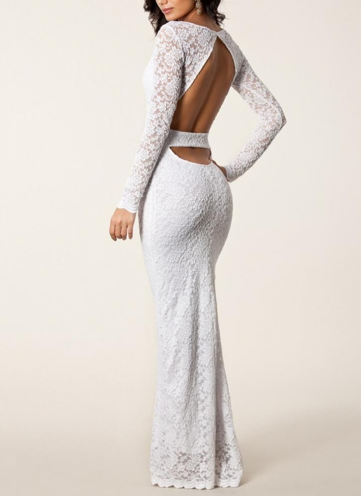 White Sexy Dress - Italian Lace Couture Cut Out | UsTrendy