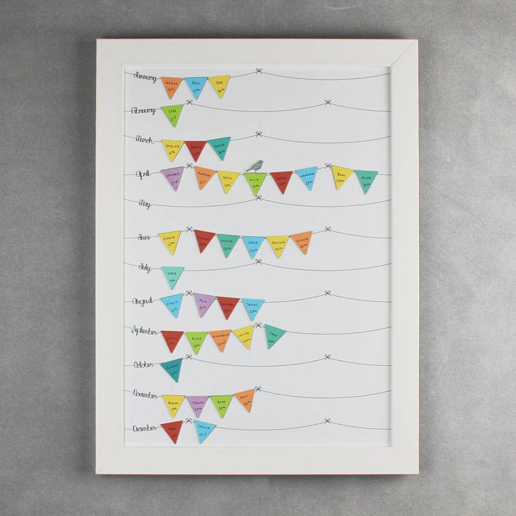Keep track of special birthdays with the help of this beautiful birthday reminder calendar. With magnetic bunting flags, you can remember birthdays with ease.Bunting magnets are available in two colours: pastels or brights. Available in two framing styles: contemporary white or traditional white frames. The contemporary style frame is a flat white wooden 28mm frame (pictured in the first photo) whereas the traditional style frame is more ornate and made from 30mm polcore moulding in a satin…