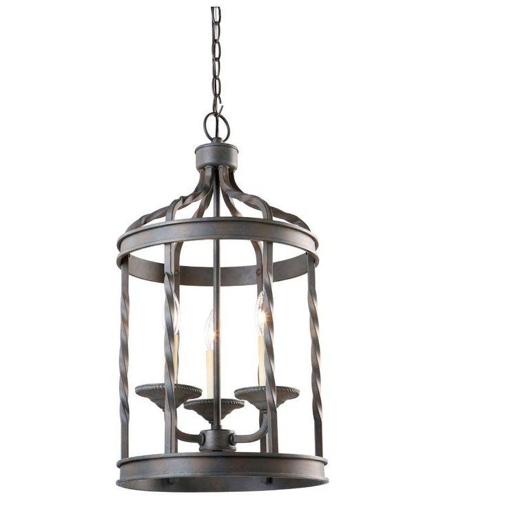 Hampton Bay Interior Foyer Lantern : Barcelona collection light rustic iron pendant