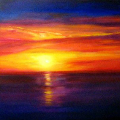 how about a sunset painting in a buttercream wall, aubergine accent coloured living room?