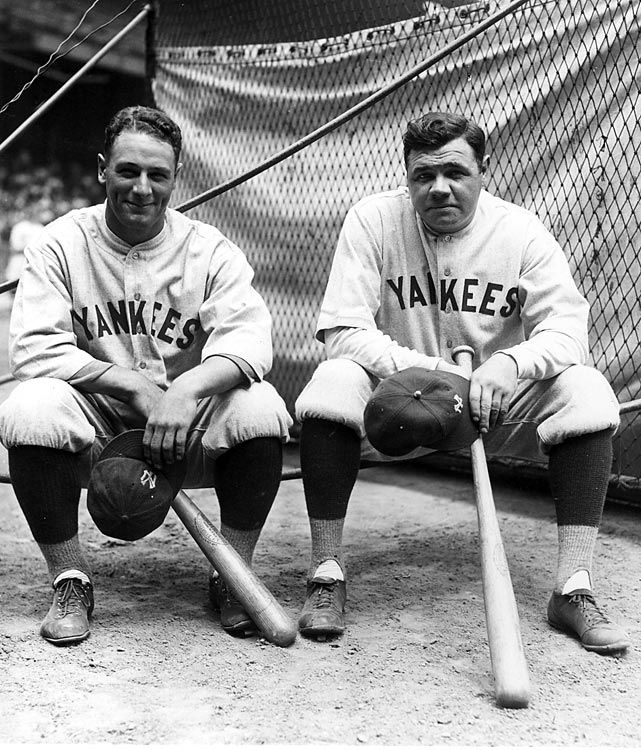 Lou Gehrig & Babe Ruth of NY Yankees