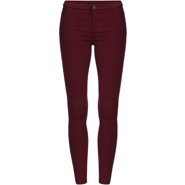 SheIn(sheinside) Red Skinny Elastic Thicken Pant (21 CAD) ❤ liked on Polyvore featuring pants, red, skinny pants, skinny fit pants, red trousers, skinny leg pants y purple pants