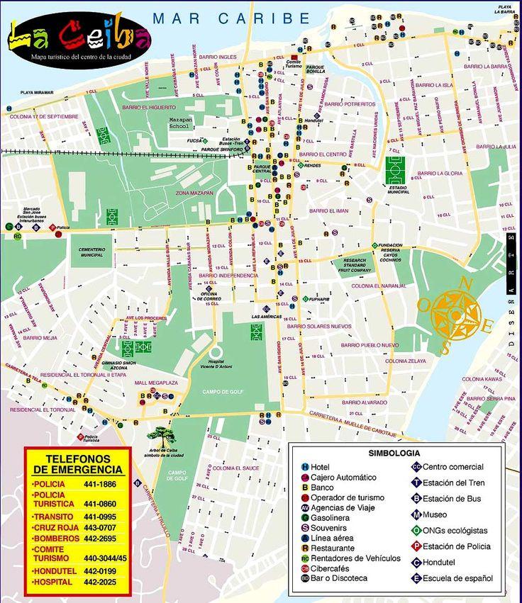 Mapa turistico de La Ceiba