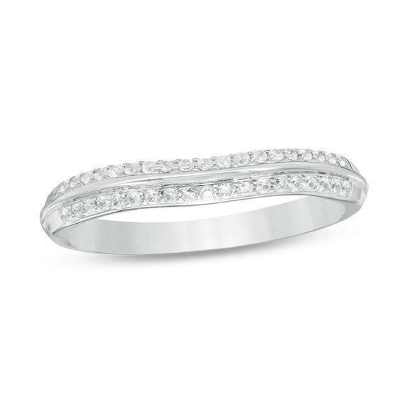 Zales 1/4 CT. T.w. Diamond Double Row Contour Band in 10K White Gold ua7cKfcMf