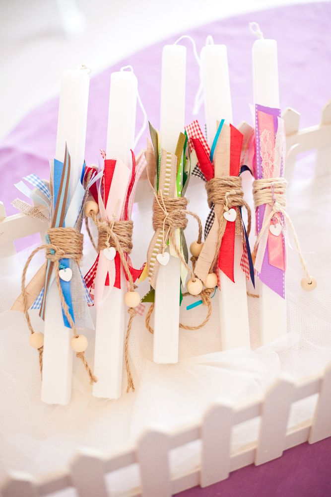 Easter candles with various colorful ribbons! #bonbonstudio