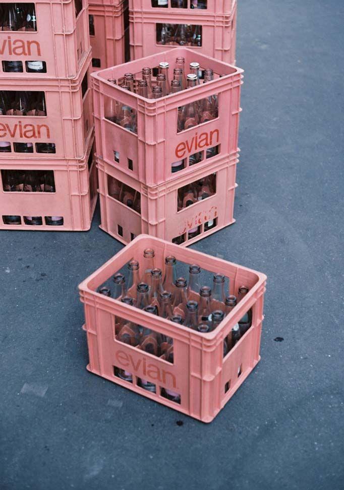 pink Evian baskets